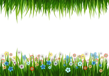 Vector illustration of a nature background with grass and flowers Çizim