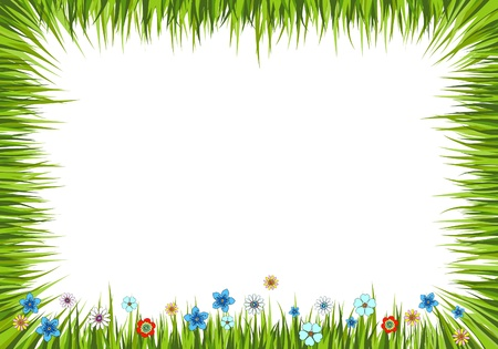 Vector illustration of a summer background with grass and flowers Stock Vector - 9296751
