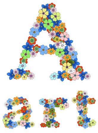 word art: Letra a y la palabra arte floral; Vector. Vectores