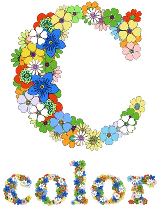 Letter C  and word color floral; vector. Vector