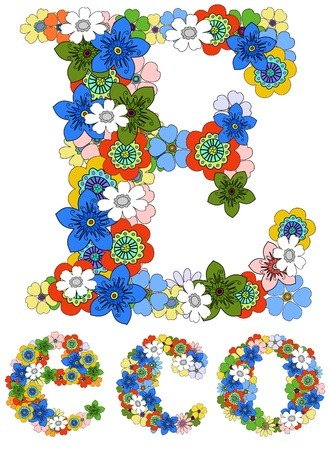Letter E  and word eco floral; vector. Vector