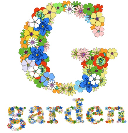 flower font: Letter G  and word garden floral; vector.