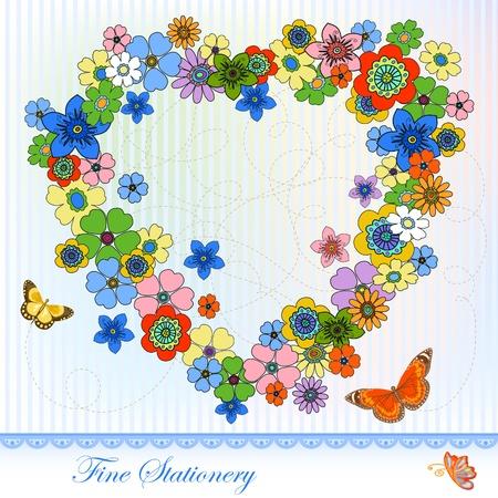 Flower in the heart shape, copy space. Celebration Stationery. Illustration