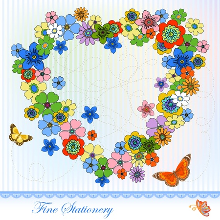 Flower in the heart shape, copy space. Celebration Stationery. Vector