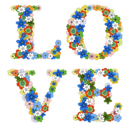 word love: Love word. Floral pattern.