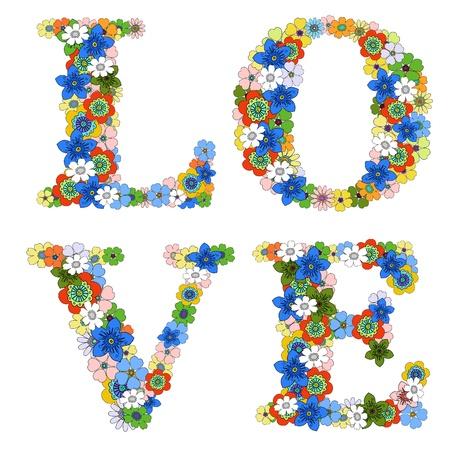 flower alphabet: Love word. Floral pattern.