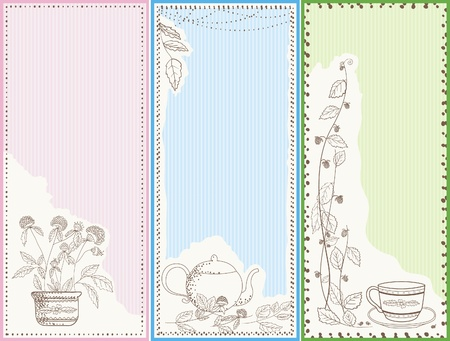 Three vertical banners, note cards or bookmarks with nature and tea elements. Pastel colors.  Vector