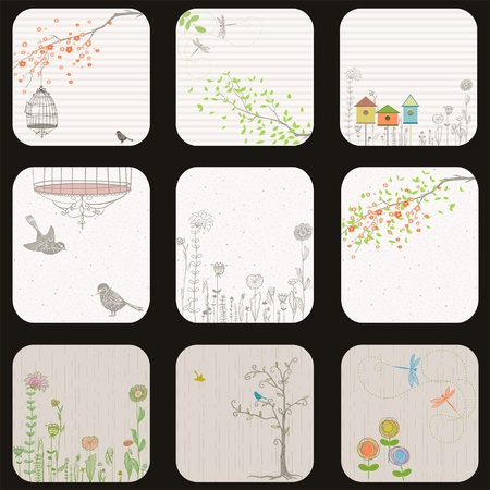A set of nature themed labels, cards or tags.