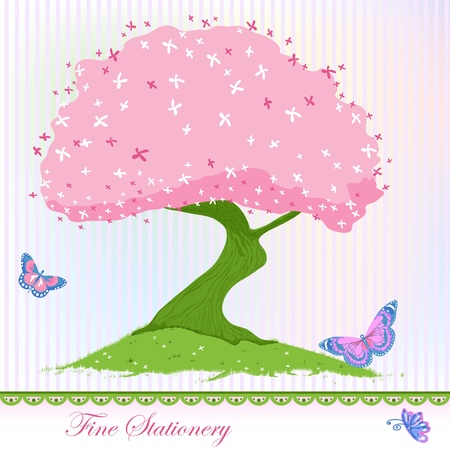 Spring pink and green blooming tree card.