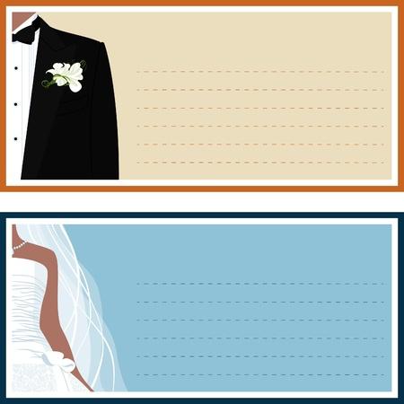 ウェディングドレス: 2 つの結婚式、新郎新婦とバナー。
