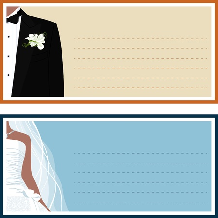 space suit: Two wedding banner with a bride and a groom.  Illustration