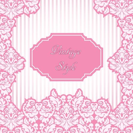 Vintage styled pink card Vector