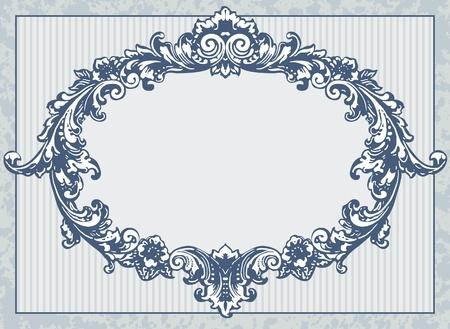 damask background: Vintage blue card.