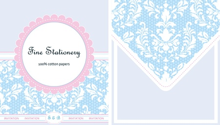 Vintage stationery, card and envelope design. Vector