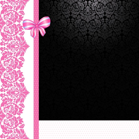 Vintage pink and black card Ilustrace