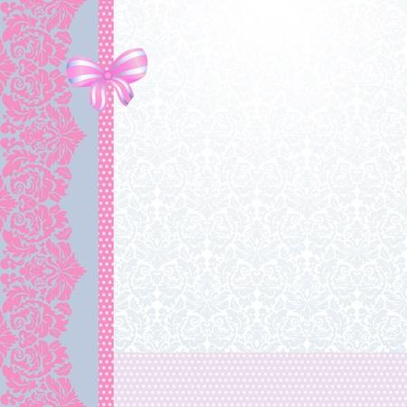 Vintage pink and grey card