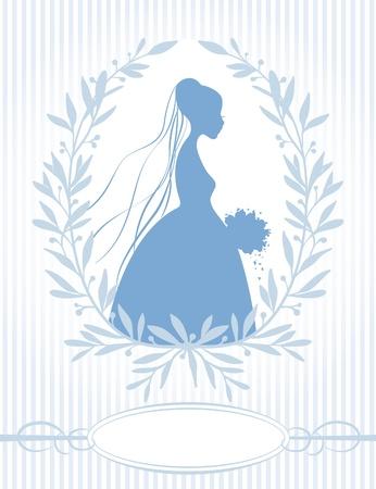 Bride Silhouette in Blue Vector