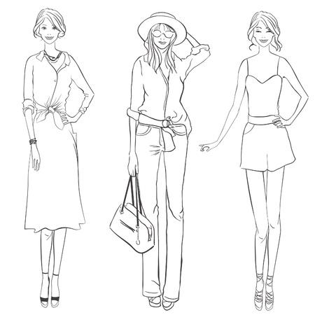 Tres niñas con diferentes prendas de vestir. Esbozo de diseñador de moda.