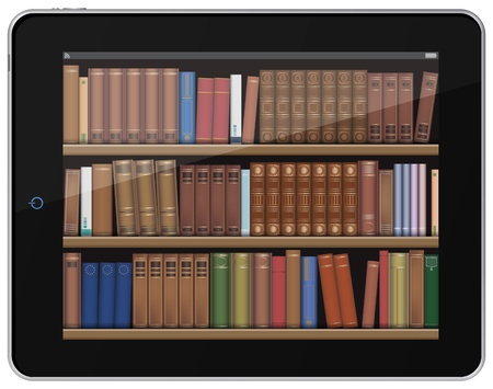 electronic book: Digital Books. Book Shelf on Tablet PC. Illustration