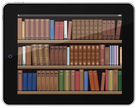 bibliotecas: Libros digitales. Estante de libro en Tablet PC. Vectores