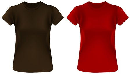 Two woman t-shirts, brown and red, design template. Vector