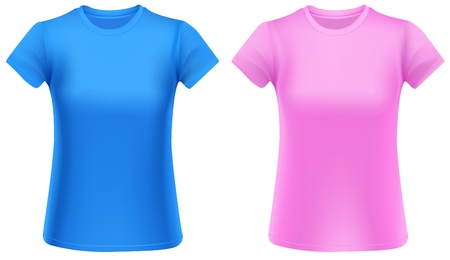 Two woman t-shirts, blue and pink, design template. Vector