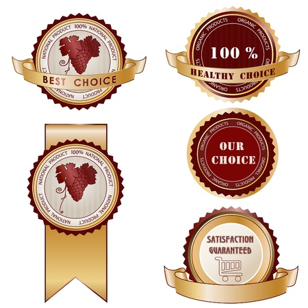 approval label: Set of round Product stickers or labels. Wine, shop, organic symbols.  Illustration