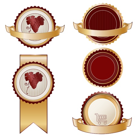 seal of approval: Set of round Product stickers or labels. Wine, shop sign. No text. Vector