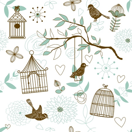 Nature Pattern with birds.  Vector