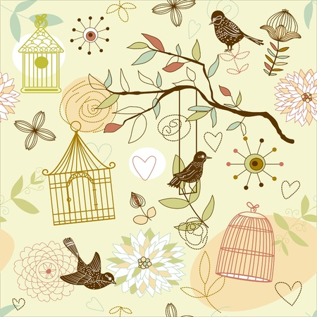 bird drawing: Nature Pattern with birds. Vector seamless.  Illustration