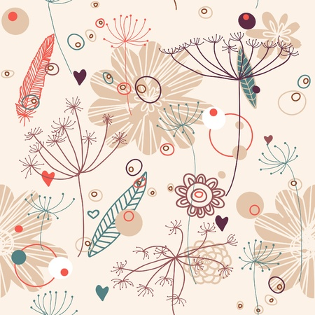 marine bird: Pattern, floral backgroung, vector Illustration