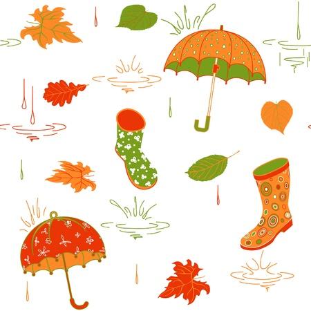 rubberboots: Hintergrund mit Regenschirm, Bl�tter und Gummistiefel, Vektor-Muster, begrenzte Farbpalette Illustration