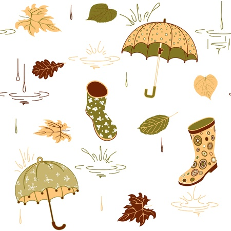 Background with umbrella, leaves and rubber boots, vector pattern, earthtone limited color palette Vector