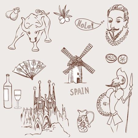 Liefde Spanje, doodles symbolen van Spanje.