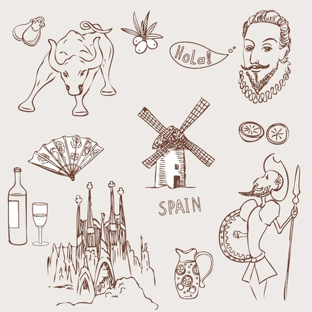 sightseeings: Love Spain, doodles symbols of Spain.