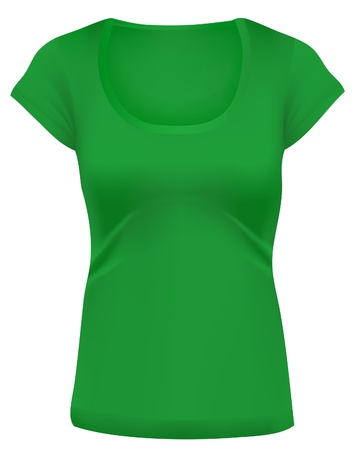 casual wear: Woman white t-shirts, Long cut, wide scoop-neck. Design template. Green. Illustration