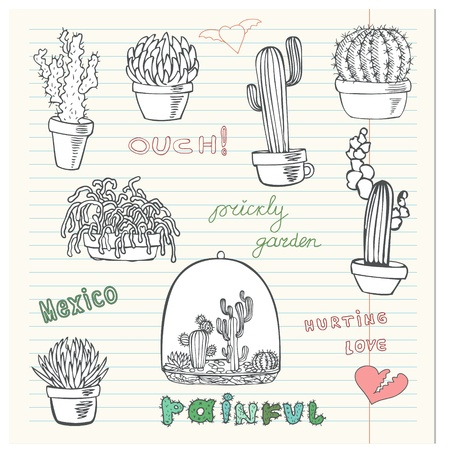 Hurting Love. Collection of the doodles cactus. Vector