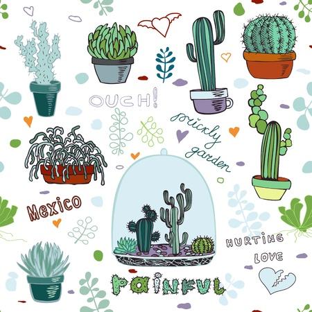 Doodles cactus pattern. Stock Vector - 10594598