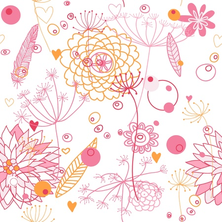 Vector, seamless abstract backgroung with flowers and plants. Endless floral pattern. Seamless pattern can be used for wallpaper, pattern fills, web page background, surface textures. 