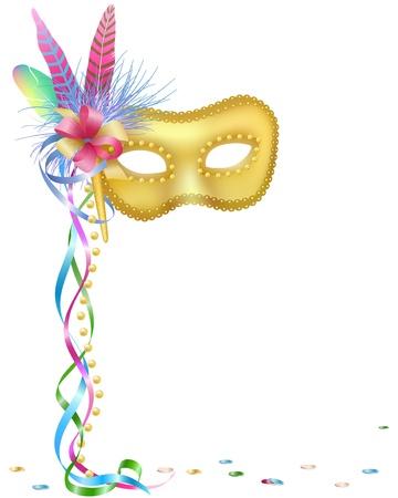 antifaz de carnaval: Ilustración vectorial de una máscara de Carnaval o Mardi Gras aislada sobre fondo blanco.   Vectores