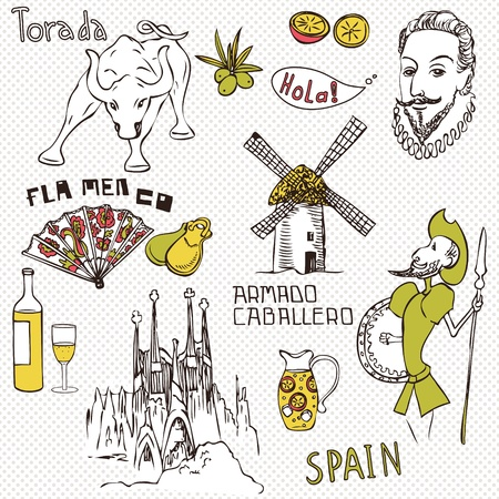 gaudi: Love Spain, doodles symbols of Spain.