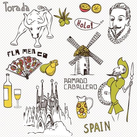 Love Spain, doodles symbols of Spain. Stock Vector - 10594603