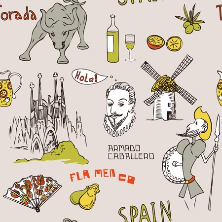 Love Spain, doodles symbols of Spain. Endless pattern. Can be used for wallpaper, pattern fills, web page background, surface textures, fabric design.  Vector