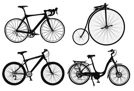 bicycle silhouette: set of four hand drawned bicycles silhouettes.