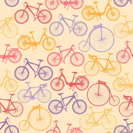 Bike background. Endless pattern. Can be used for wallpaper, pattern fills, web page background, surface textures, fabric design.  Illustration
