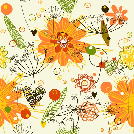 Abstract background. Endless floral pattern. Seamless pattern can be used for wallpaper, pattern fills, web page background, surface textures.  Illustration