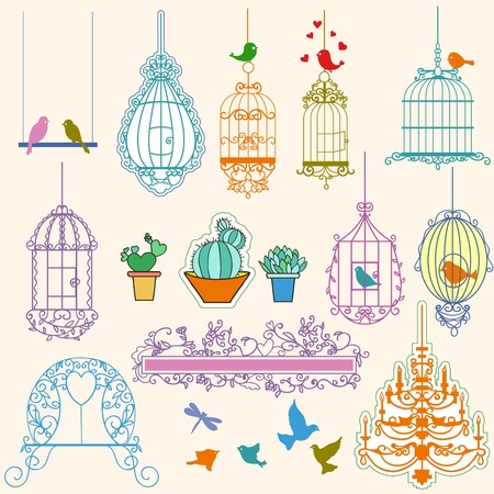freedom couple: Vintage birds and birdcages collection.Clipart. Vector