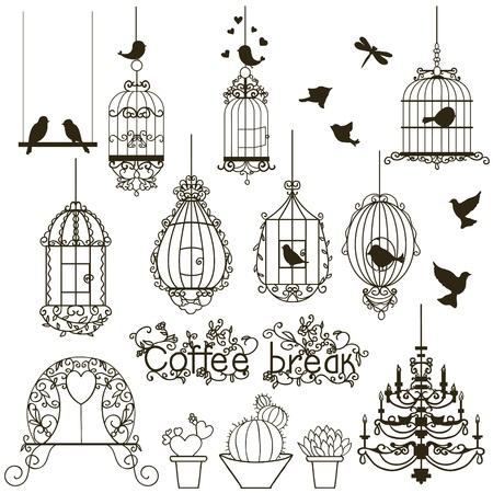 gabbie: Uccelli d'epoca e raccolta gabbie per uccelli. Isolati su bianco. Clip art. Vettore.