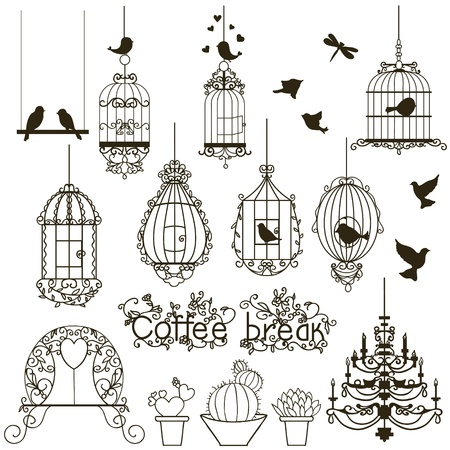 Vintage birds and birdcages collection.  Isolated on white. Clipart. Vector.  Vector