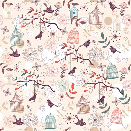 love birds: Nature Pattern with birds, birdcages, plants, flowers. Vector.